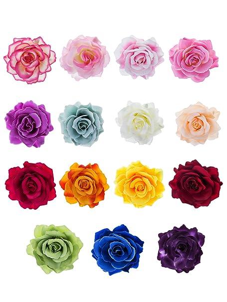 Multi Colors Set of 2 Chiffon Flowers Brooch Hair Clip Single Chiffon Flower