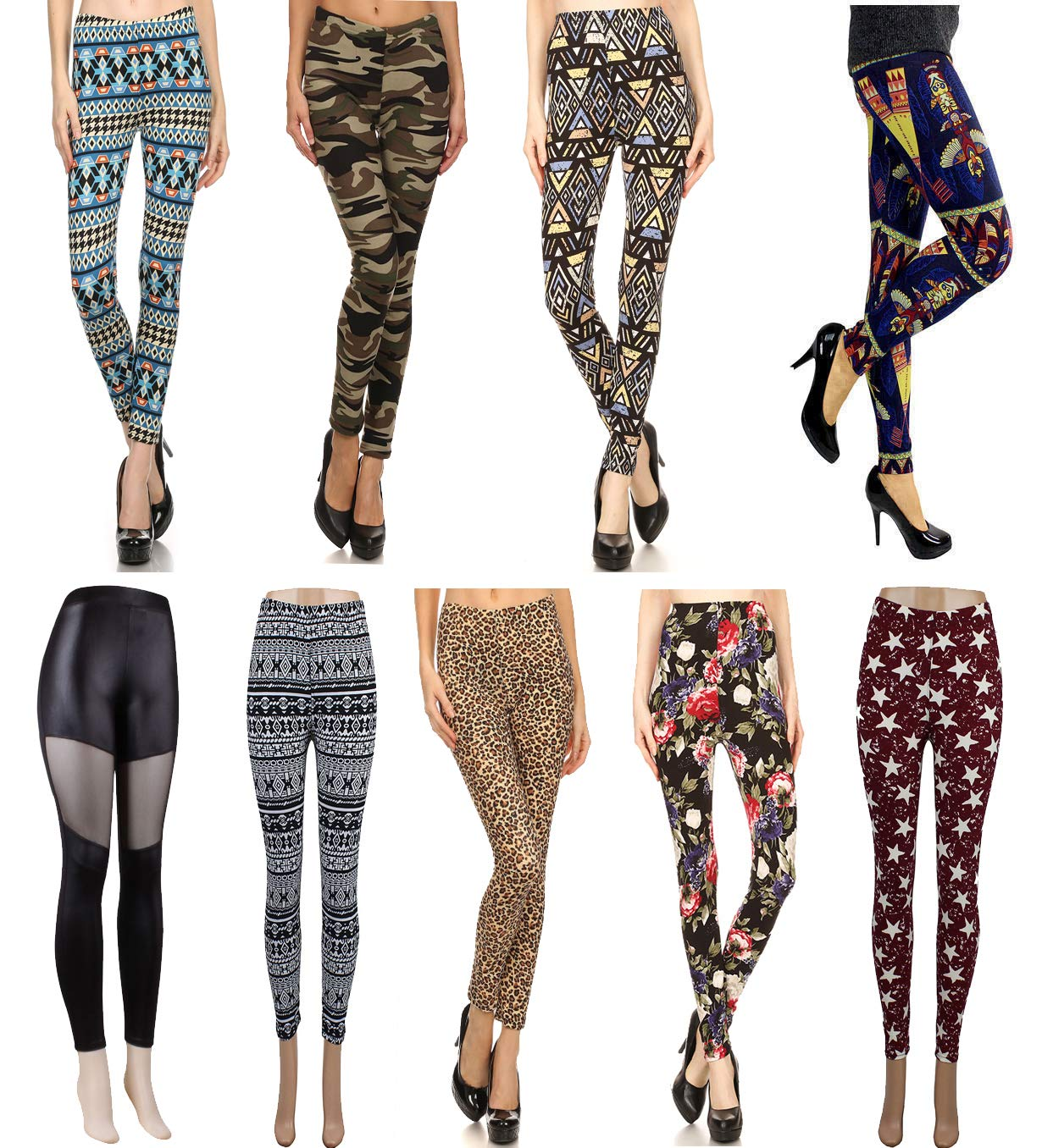 Wholesale Lots Leggings for Women - 9-Pack Aztec Tribal Print Leggings with Patterned Design