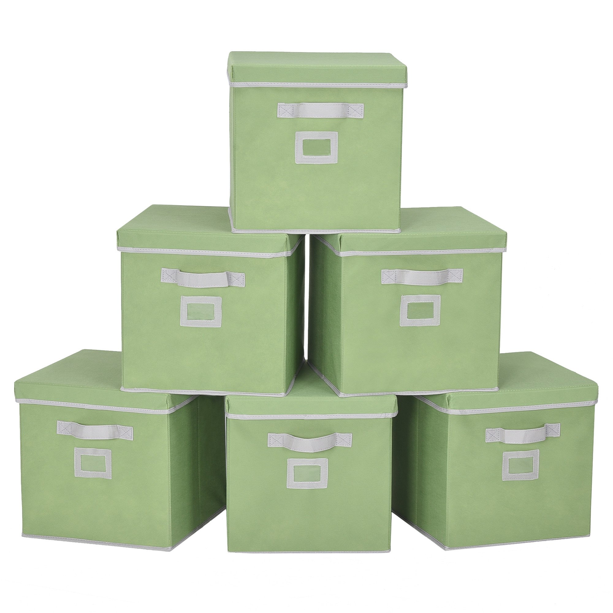 StorageWorks Storage Cube Box With Lid, Fabric Storage Bin By, Green, Large, 6-Pack, 11.8x11.8x11.8 inches by StorageWorks