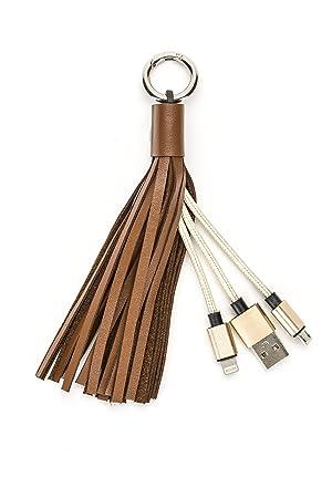 Llavero de piel y napa con cable USB y micro USB para cargar iPhone y Android - Para todos los dispositivos de Wasserstein (Marrón)