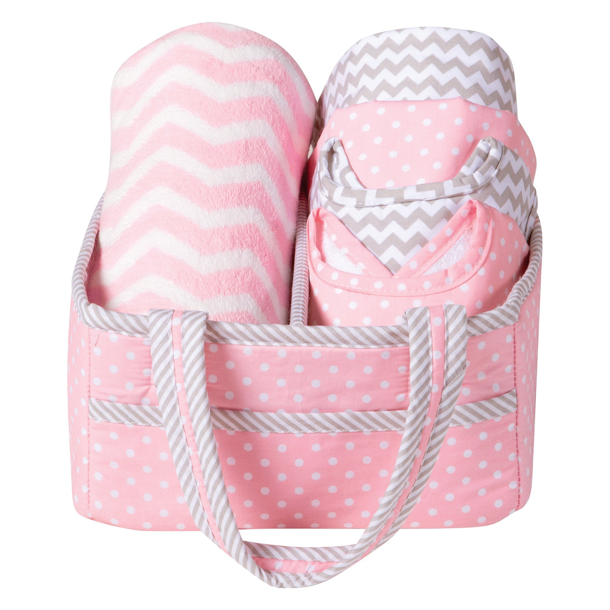 Trend Lab 6 Piece Baby Care Gift Set, Pink Sky
