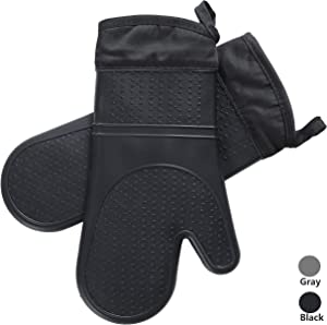 ARCLIBER Silicone Oven Mitts - 1 Pair of Long Oven Gloves with Quilted Liner - Heat Resistant Kitchen Gloves, Professional Food Safe Pot Holder for Cooking Barbecue Baking,Black
