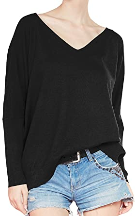 FCYOSO Women s Big V-Neck Pullover Loose Sexy Batwing Sleeve Wool Cashmere  Sweater Tops Small b4905df0e
