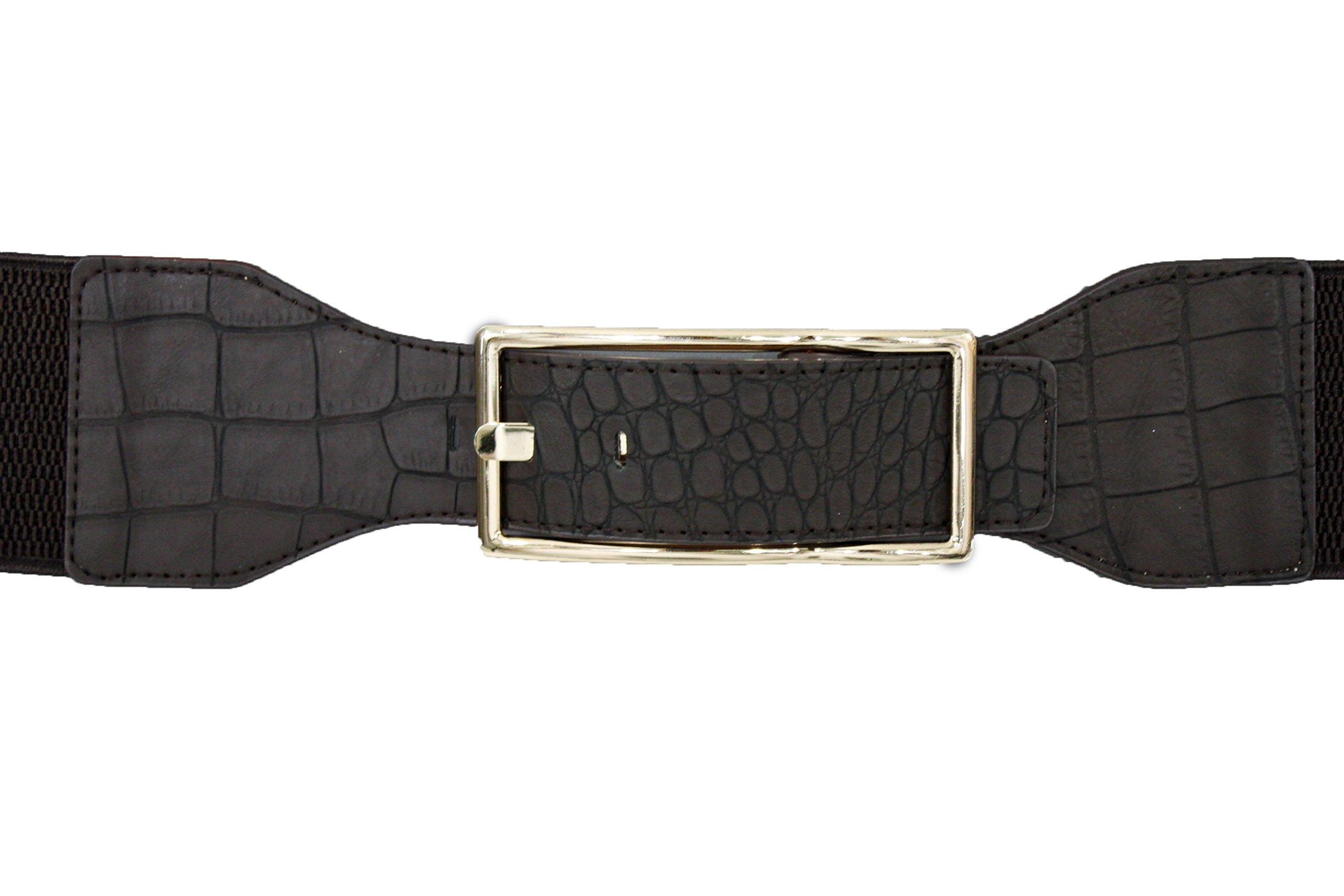 TFJ Women's Fashion Belt Hip Waist Faux Leather Long Gold Metal Buckle Plus Size Medium Large (Brown)