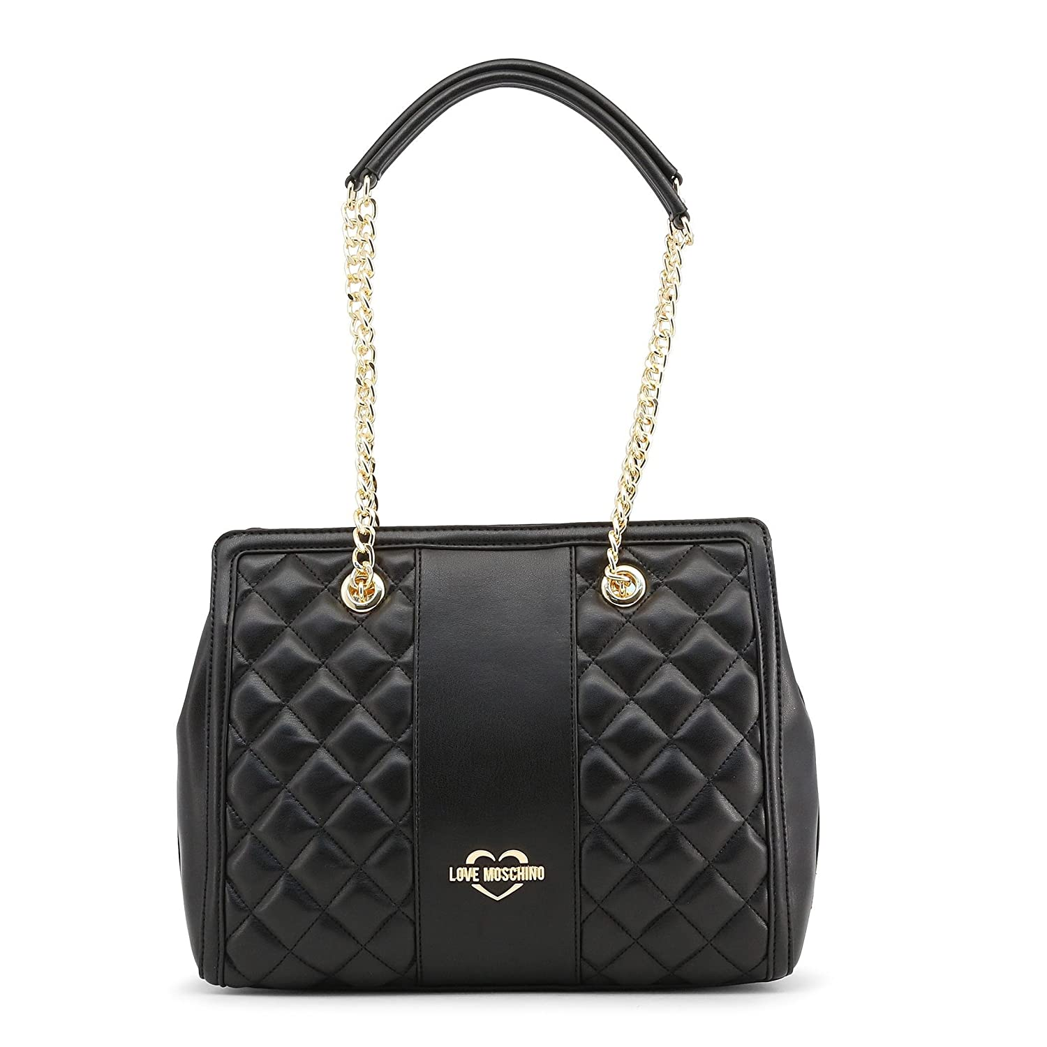 350ff87edb30 Amazon.com  LOVE Moschino Women s Quilted Shoulder Bag Chain Strap Black Gold  Chain One Size  Shoes