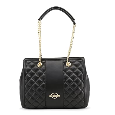 fbbbabbe5024 LOVE Moschino Women s Quilted Shoulder Bag Chain Strap Black Gold Chain One  Size