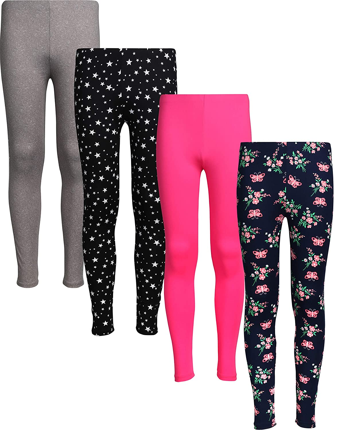 dELiAs 4 Pack Girl/'s Basic Yummy Active Leggings Solids /& Prints