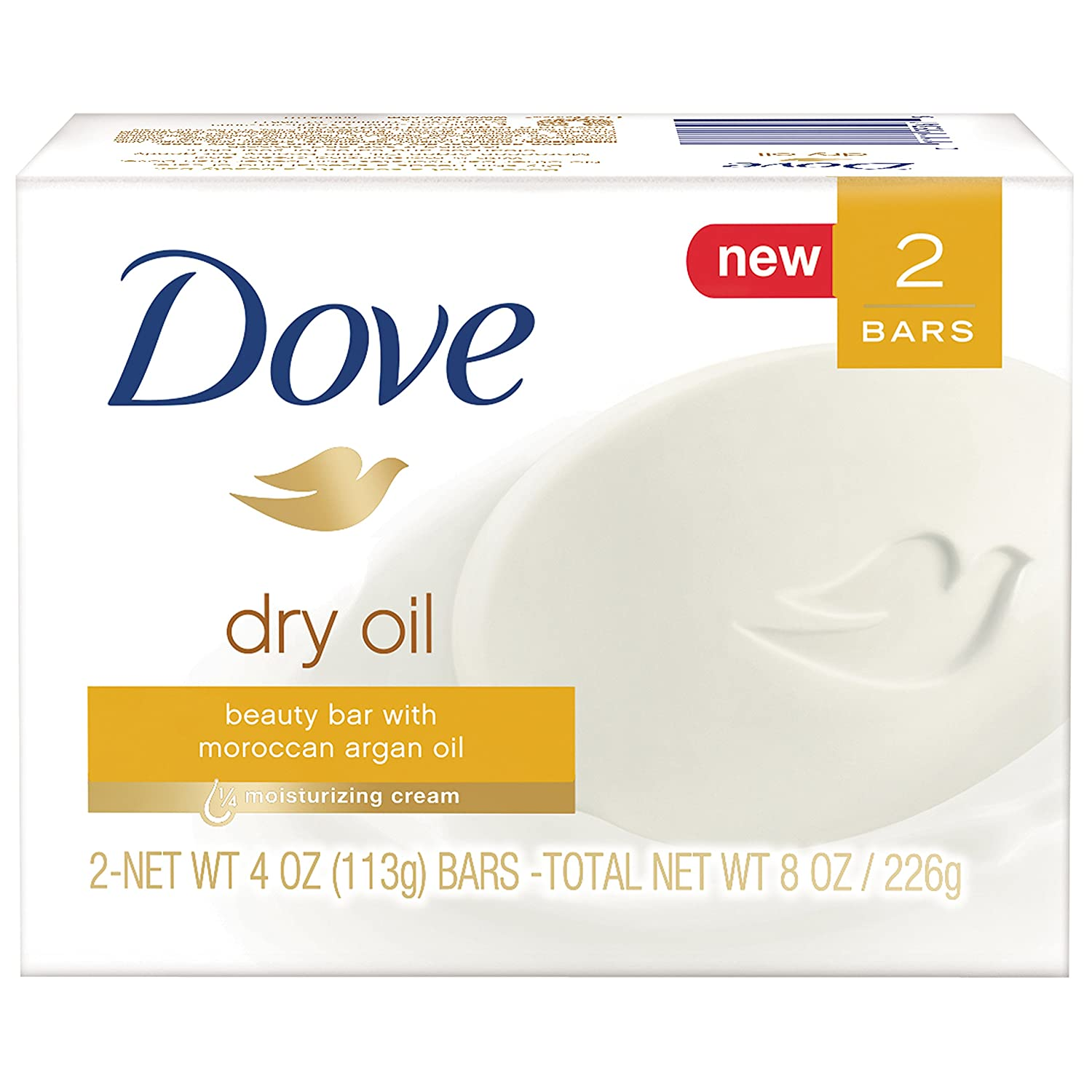 Dove Beauty Bar, Dry Oil, 4 Ounce (Pack of 2)