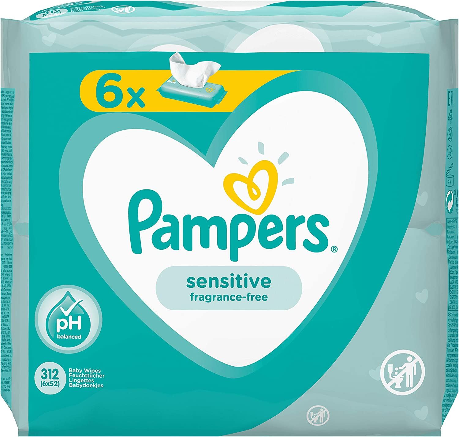 s Pampers Sensitive 81687204 Baby Wet Wipes 52 pc Wet Baby Wipe, Plastic Bag, Girl//Boy, Turquoise, White, Germany, 1.79 kg