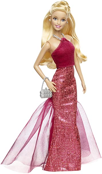 Amazon.com: Barbie Signature Style Barbie Doll with Red Halter Gown ...