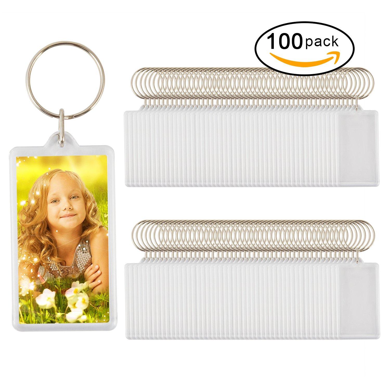 100pcs Custom Personalised Insert Photo Acrylic Blank Keyring Keychain WholeSale(size:2.51''x1.33'')