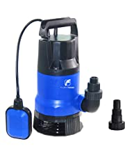 """FLUENTPOWER Electric Submersible Pump 1/3HP with Max Flow 2000 GPH Clean/Dirty Submersible Sump Pump Included 3/4"""" Standard Garden Hose Connector and Float Switch for Automatic Operation"""