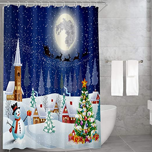 Father Christmas with Xmas Baubles Bathroom Shower Curtain Polyester