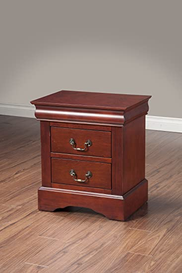 Elegant Alpine Furniture Louis Philippe II 2 Drawer Nightstand   Cherry