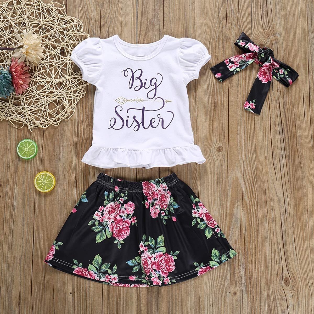 Ensemble de Jupe /à Fleurs b/éb/é Fille Petite Grande Soeur Puseky T-Shirt /à Manches Courtes
