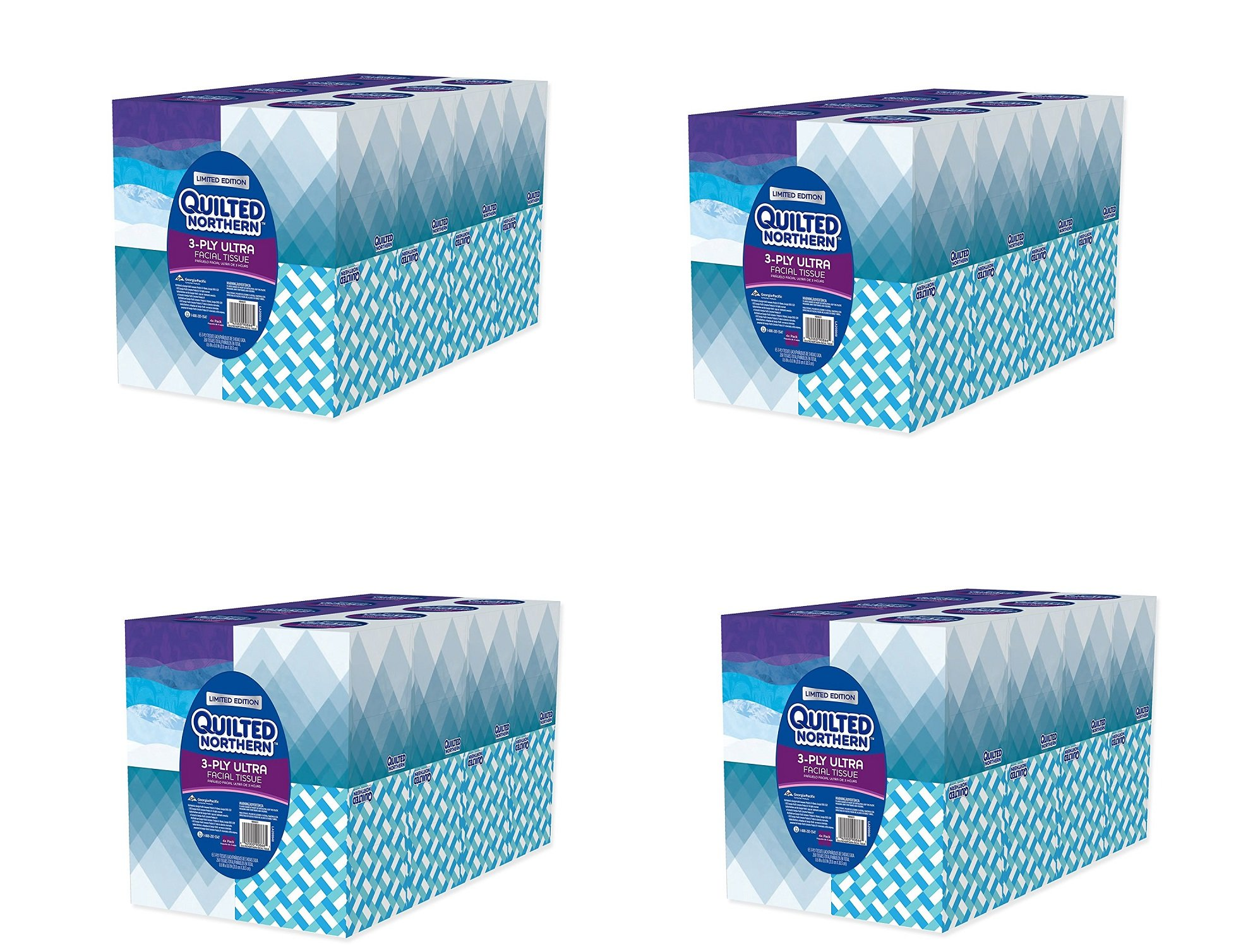 Quilted Northern Ultra hpJBbt Facial Tissue Cube, 16 Boxes (Pack of 4)