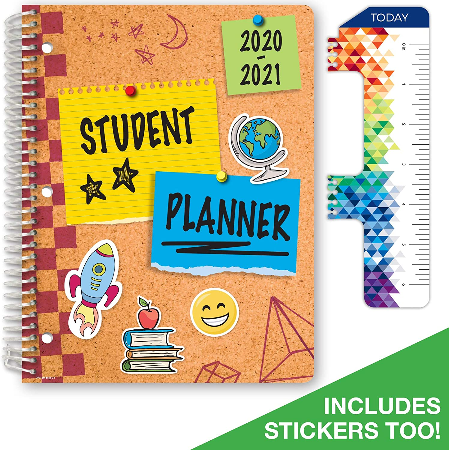 "Dated Elementary Student Planner for Academic Year 2020-2021 (Matrix Style - 8.5""x11"" - Corkboard Cover) - Bonus Ruler/Bookmark and Planning Stickers"