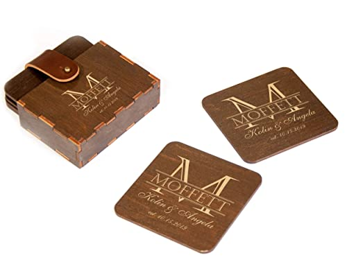 Personalised Wooden Coaster Set Wedding New home Anniversary Couples Gift