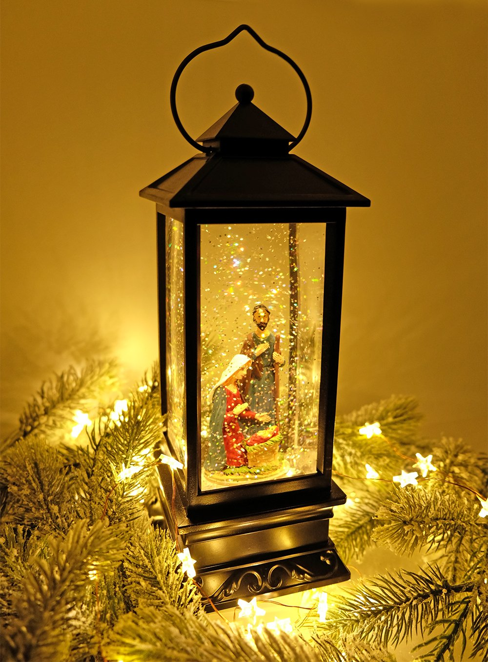 DRomance Lighted Water Lantern Glittering with Music USB & Battery Powered Singing Snow Globe for Kids, Nativity Water Snow Glitter Globe Lantern for Christmas Decoration,12 Inch Tall