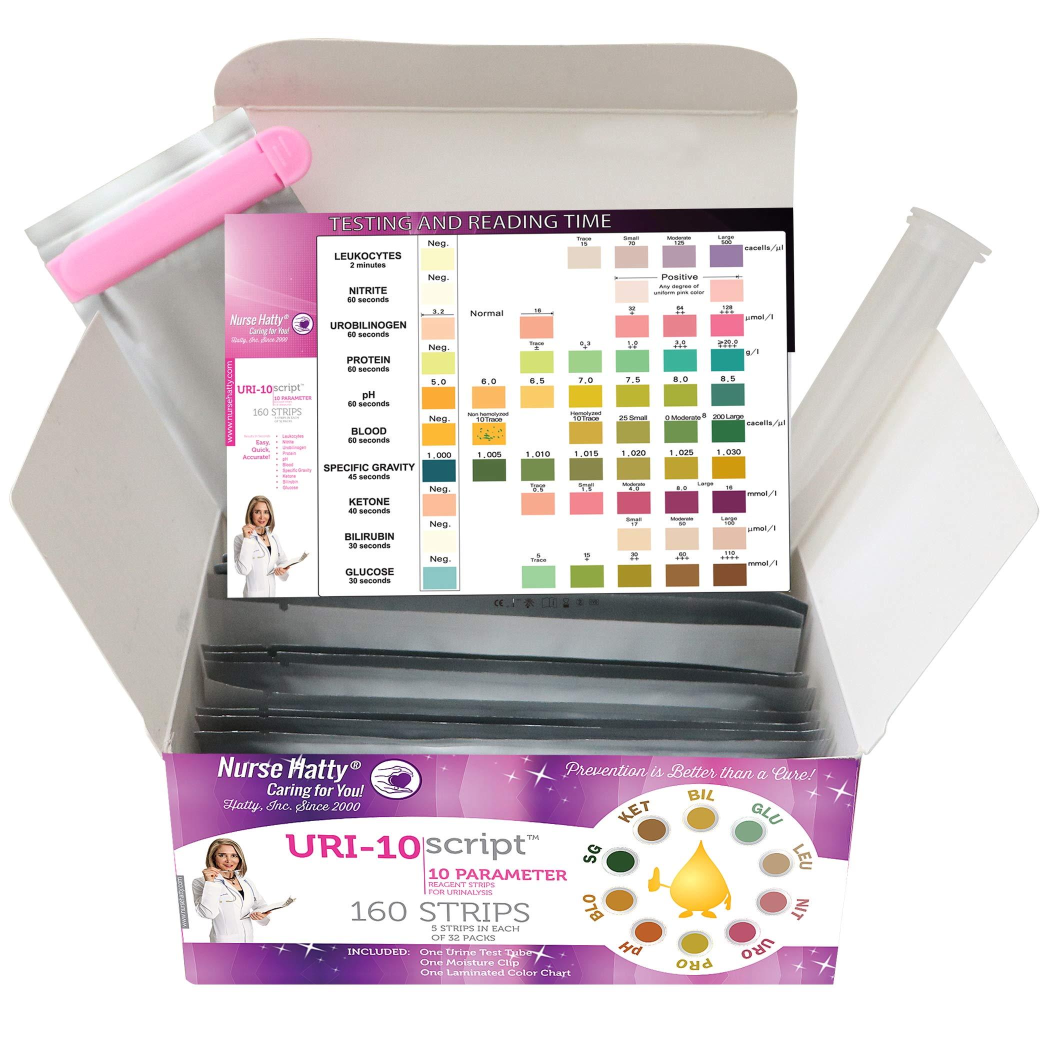 Nurse Hatty – 160 ct. Box - 10 Parameter Urine Test Strips (5ct. X 32 Packs) for UTI, Gallbladder, Kidney Health, Ketone, pH, Protein, Blood & More! Test Tube, Moisture Clip & Waterproof Chart Inc.