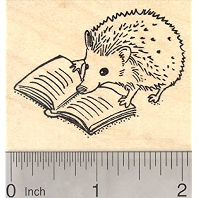 Reading Hedgehog Rubber Stamp: Arts, Crafts & Sewing