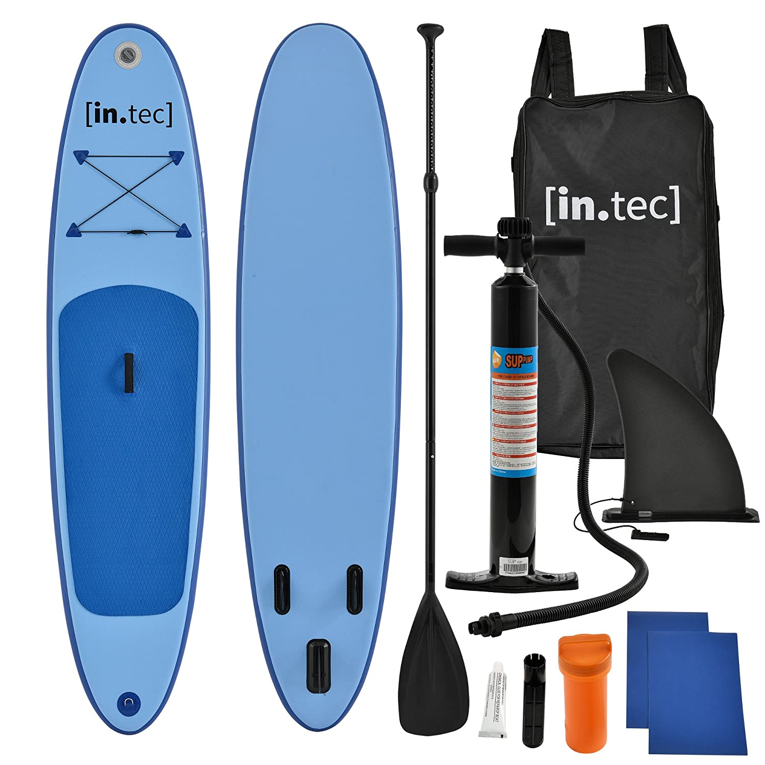 [in.tec] Tabla de Surf Hinchable remar de pie Paddle Board 305 x 71 x 10cm Tabla de Sup de Aluminio con Remo y Bomba - en 3 Colores - Rojo, Turquesa, ...