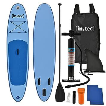 [in.tec] Tabla de Surf Hinchable remar de pie Paddle Board 305 x 71 x 10cm Tabla de Sup de Aluminio con Remo y Bomba - en 3 Colores - Rojo, Turquesa, ...