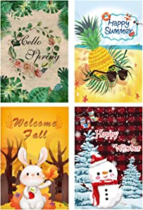 Seasonal Garden Flag 4 PCS Burlap Outdoor Yard Lawn Flag Spring Summer Fall Winter Double Sided Durable Weather Resistant Welcome Flag 1218 inches