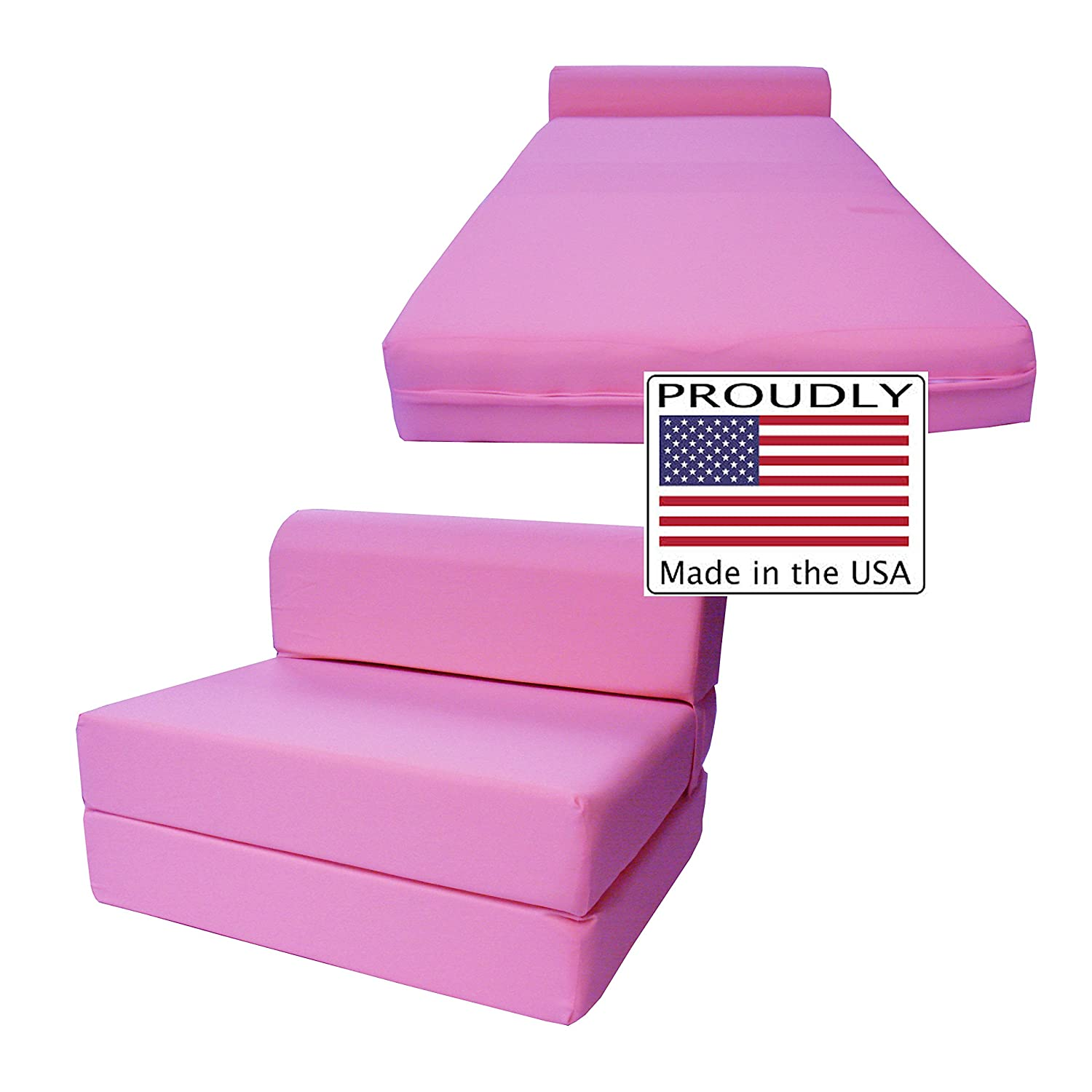 "Amazon Pink Sleeper Chair Folding Foam Bed Sized 6"" Thick X"