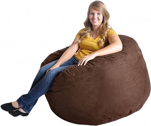 SLACKER sack 4-Feet Foam Microsuede Beanbag Chair, Large, Chocolate