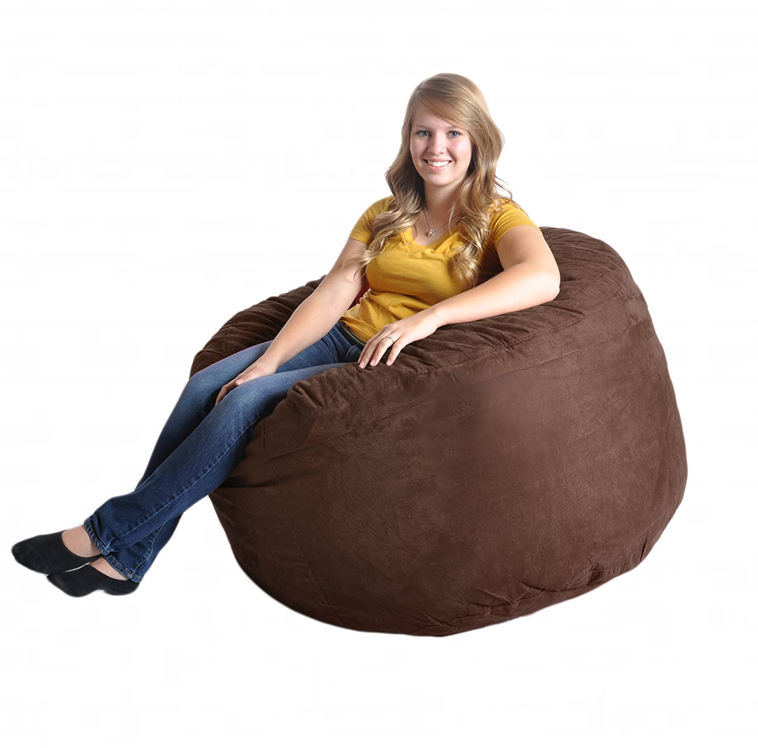 SLACKER sack 4-Feet Foam Microsuede Beanbag Chair, Large, Chocolate