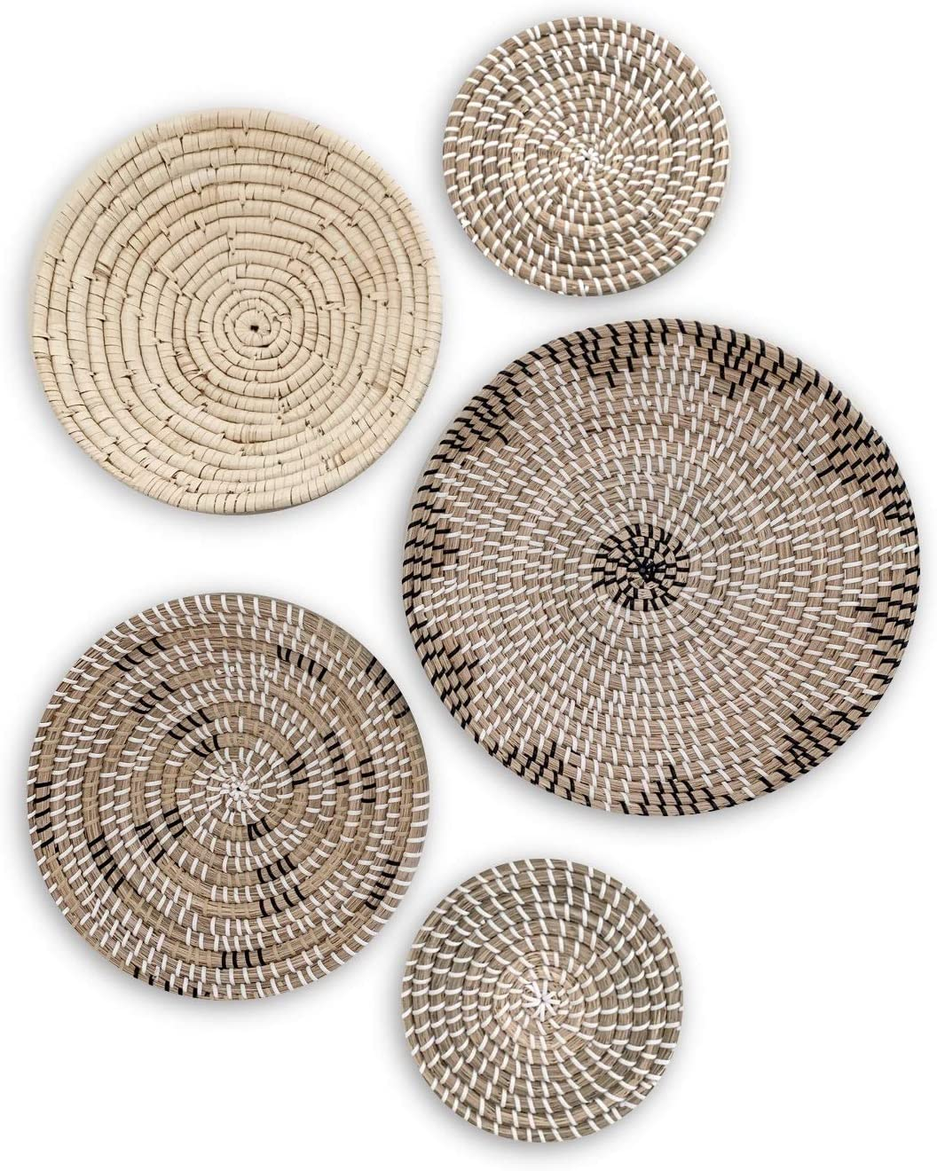 TheNamiCollection Woven Wall Basket Set - Five Hanging Seagrass Baskets | Decorative, Boho Styled Baskets Perfect For Trendy, All Natural Home Decor | Handmade, Round, Woven, Hanging Wall Basket Decor
