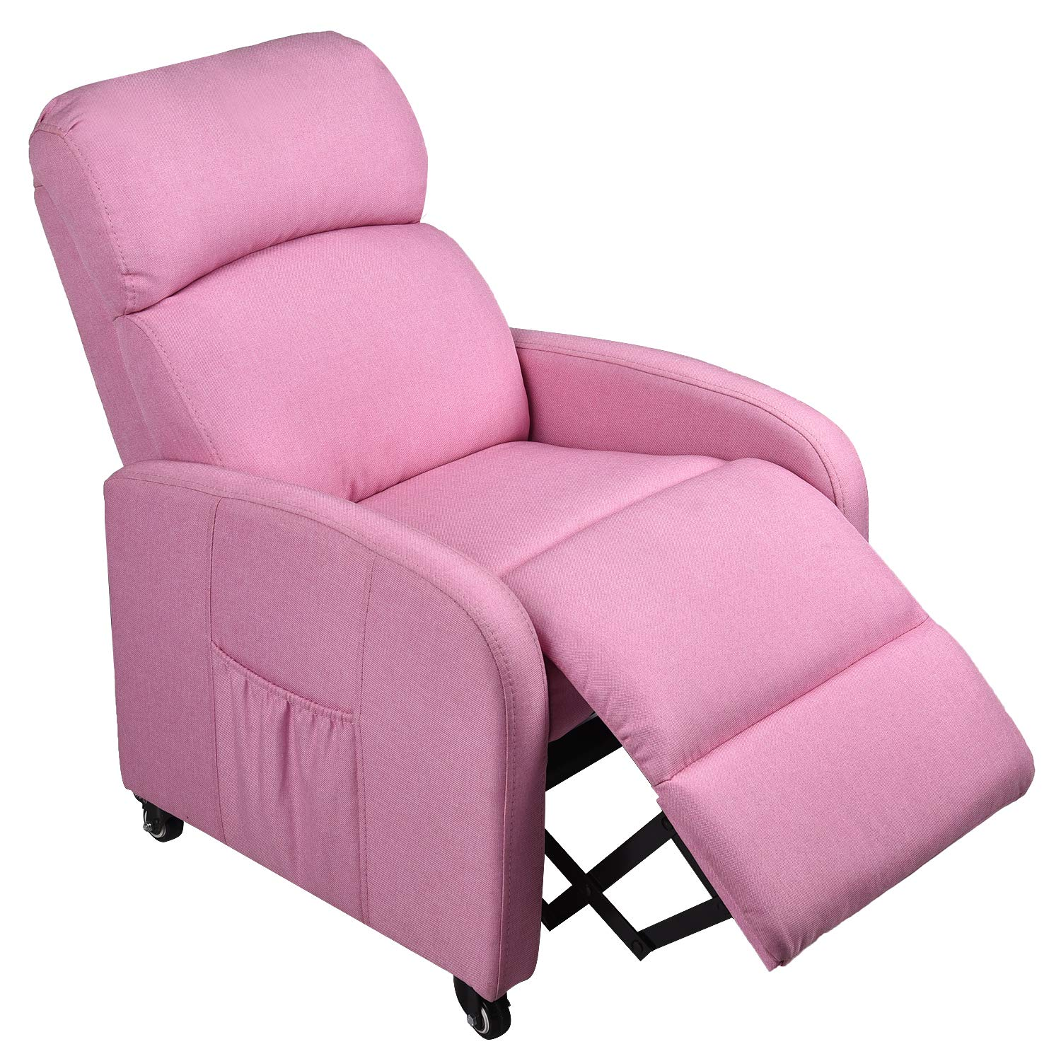 Pink Kids Sofa Recliner with Storage Bag and Locked Wheels for Boys Girls, Ergonomic Contemporary Children Living Room Sofa Recliner by YOURLITE