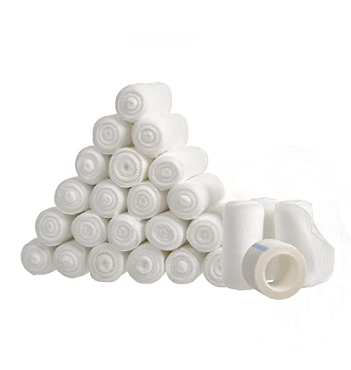 """24 Gauze Bandage Rolls with Medical Tape, 2"""" x 4 Yards Stretched, Stretch Bandage Roll, FDA Approved, Medical Grade Sterile First Aid Wound Care, Dressing, by California Basics"""
