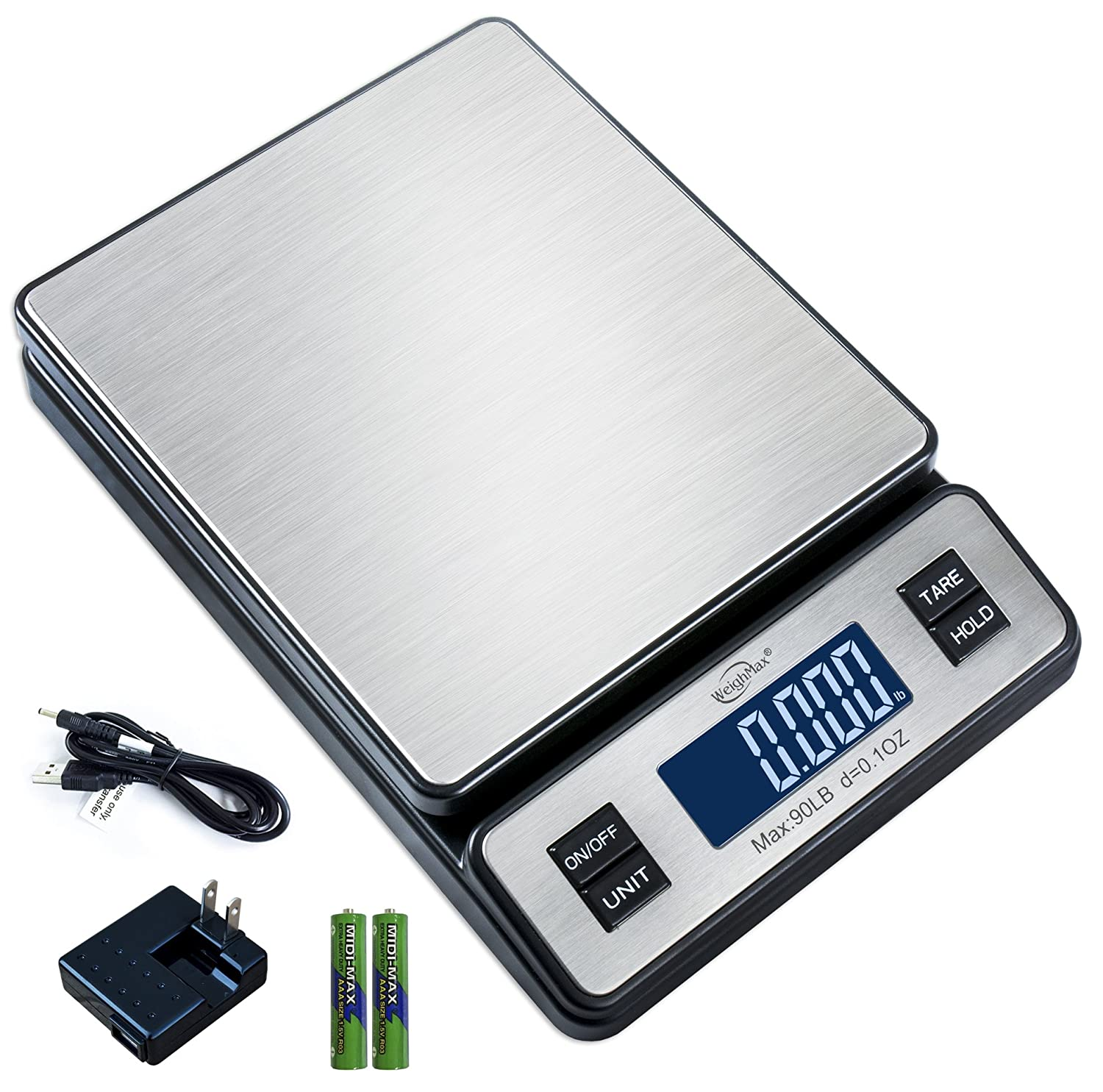 Weighmax W-2809 90 LB X 0.1 OZ Durable Stainless Steel Digital Postal Scale, Shipping Scale with AC Adapter