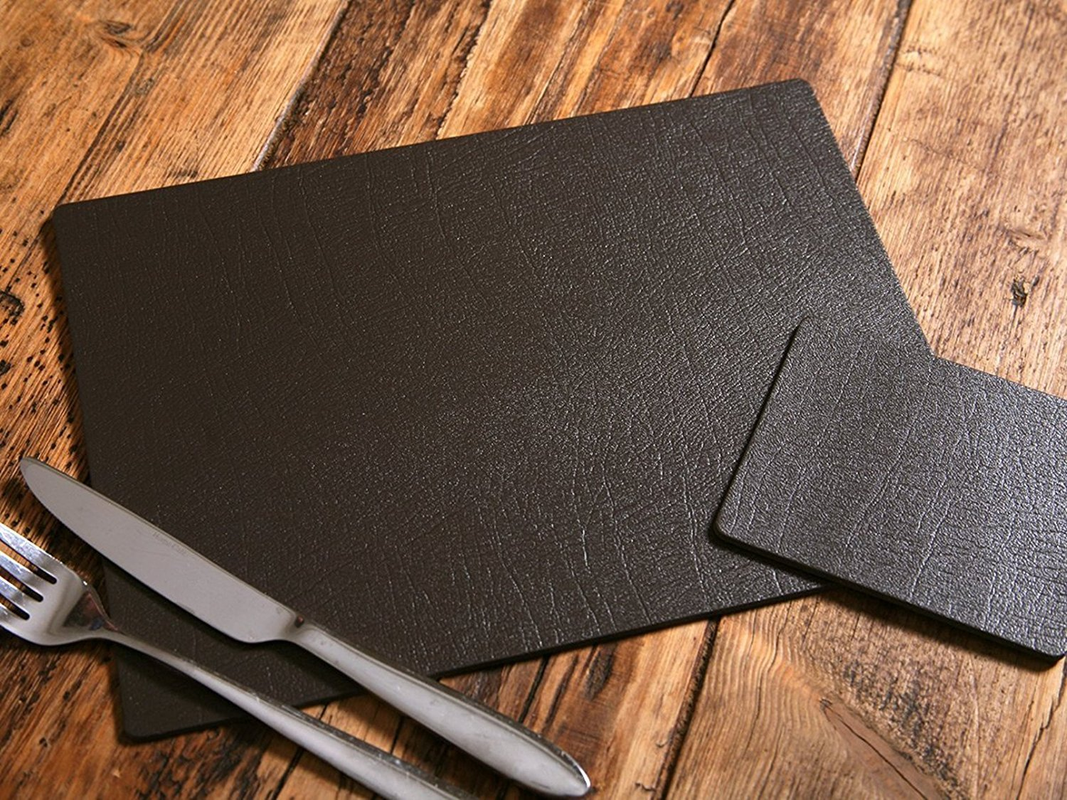 Giftag Set of 8 Artisan Brown Bonded Leather Placemats and 8 Coasters, Made In UK, 16 Piece