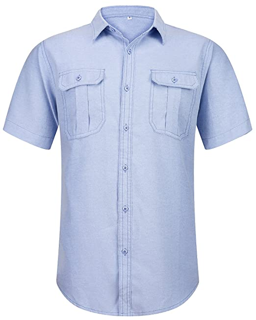 69039bd45fbdf Image Unavailable. Trensom Men s Casual Button Down Western Short Sleeve  Fitted Solid Work Oxford Shirt Light Blue X