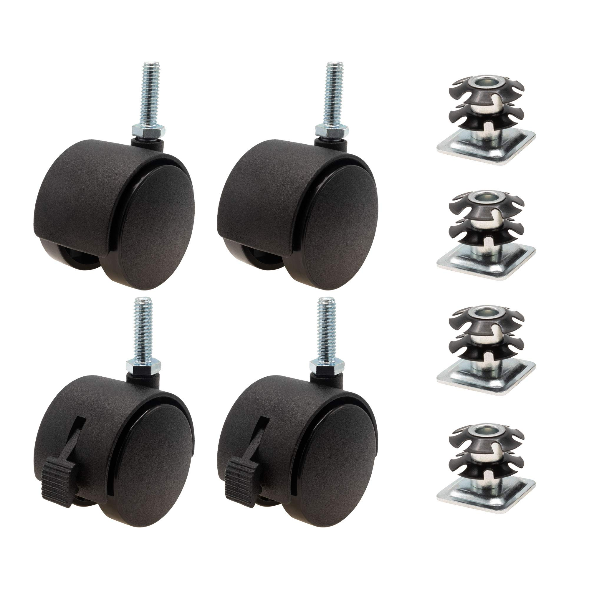 1-1/8 Inch Square Double Star Caster Insert and 2 Inch Black Swivel Non Hooded Twin Wheel Caster 2 with Brakes 2 Without Brakes 4 Pack by Outwater