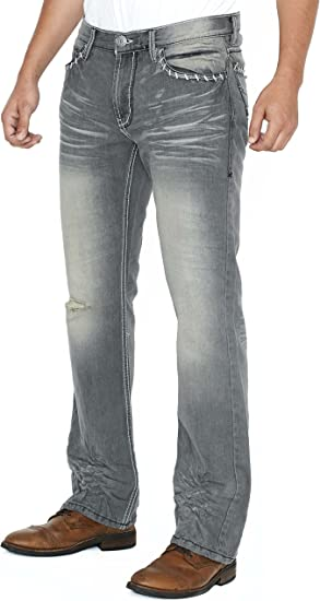 Slim Bootcut Men's Jeans Faded and Ripped Denim Jean