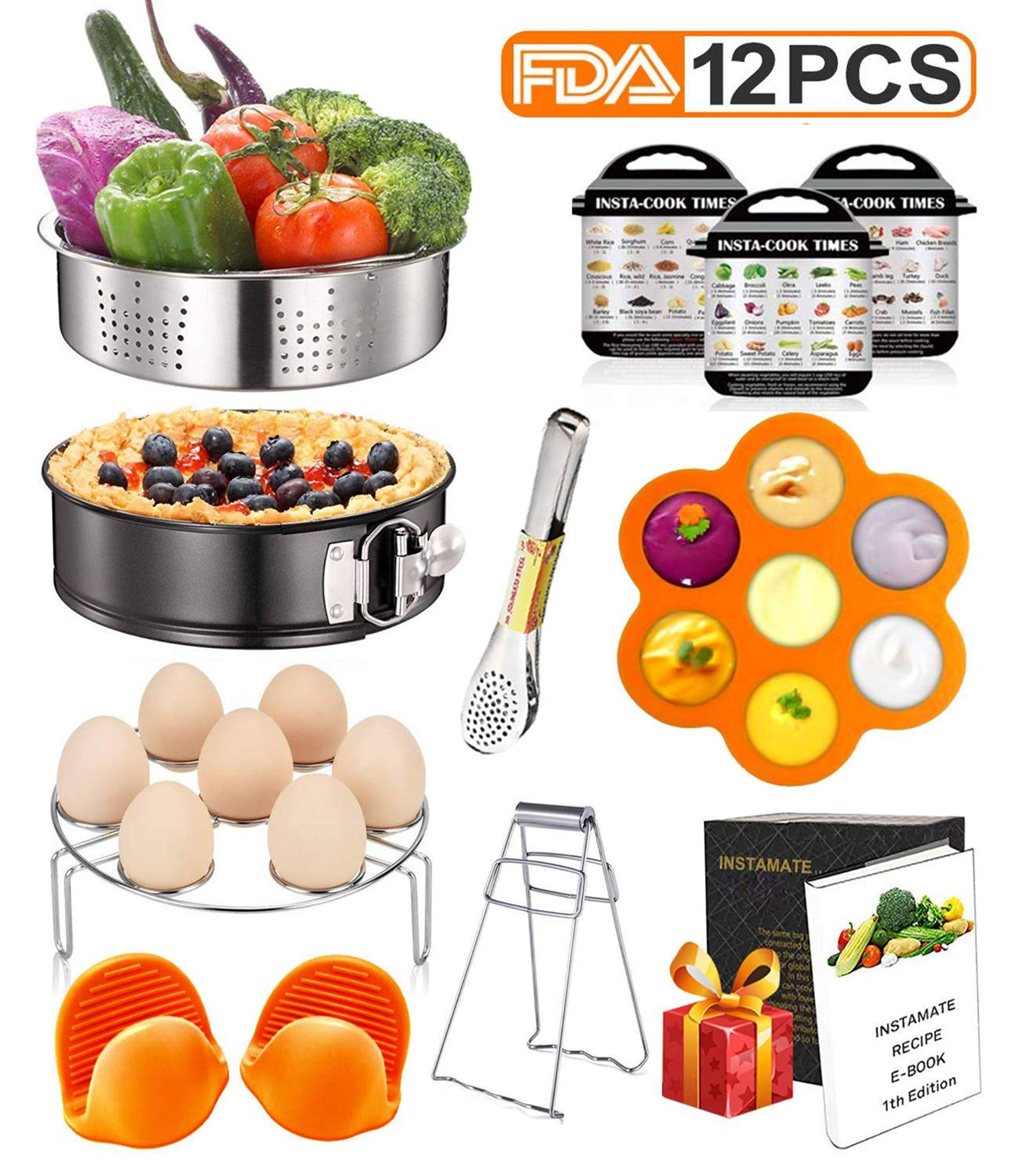 12 Pcs Instant Pot Accessories Set Compatible with 6 8 Qt, Pressure Cooker Accessories with Steamer Basket, Cake Pan, Rack, Egg Bites Mold, Magnets, Bowl Clip, Tongs, Gloves, Ebook (orange)
