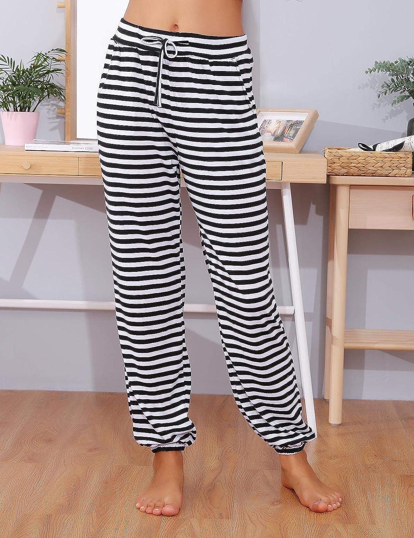 Abollria Pigiama Pantaloni Lunghi da Donna in Cotone Donna Pigiama Pantaloni da Notte Pantaloni Sportivi da Donna