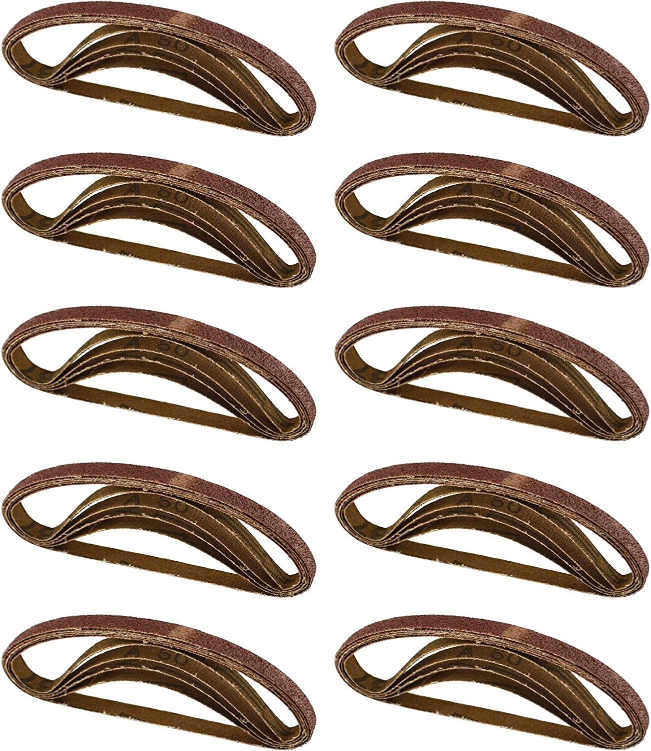 Belt Power Finger File Sander Abrasive Sanding Belts 330mm x 10mm 60 Grit 50pk