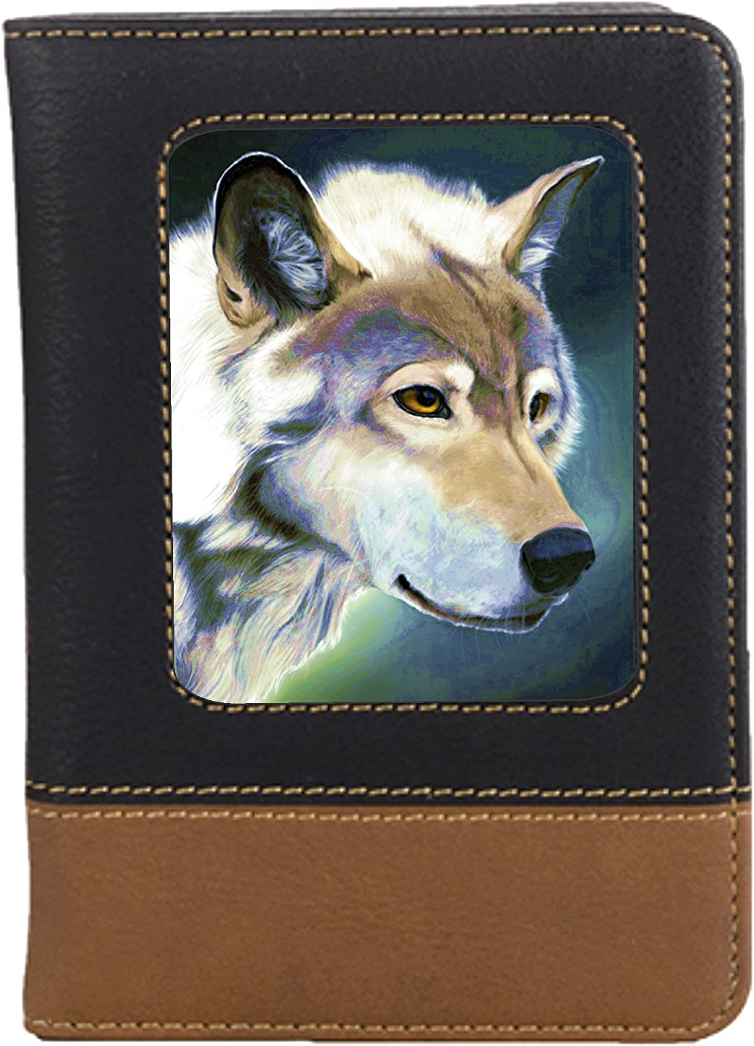 Watercolor Wolf Leatherette Passport Wallet Style Case Cover For Travel