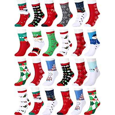24 Pairs Christmas Holiday Socks for Women Funny Crew Socks Cotton Knit Socks at Amazon Women's Clothing store