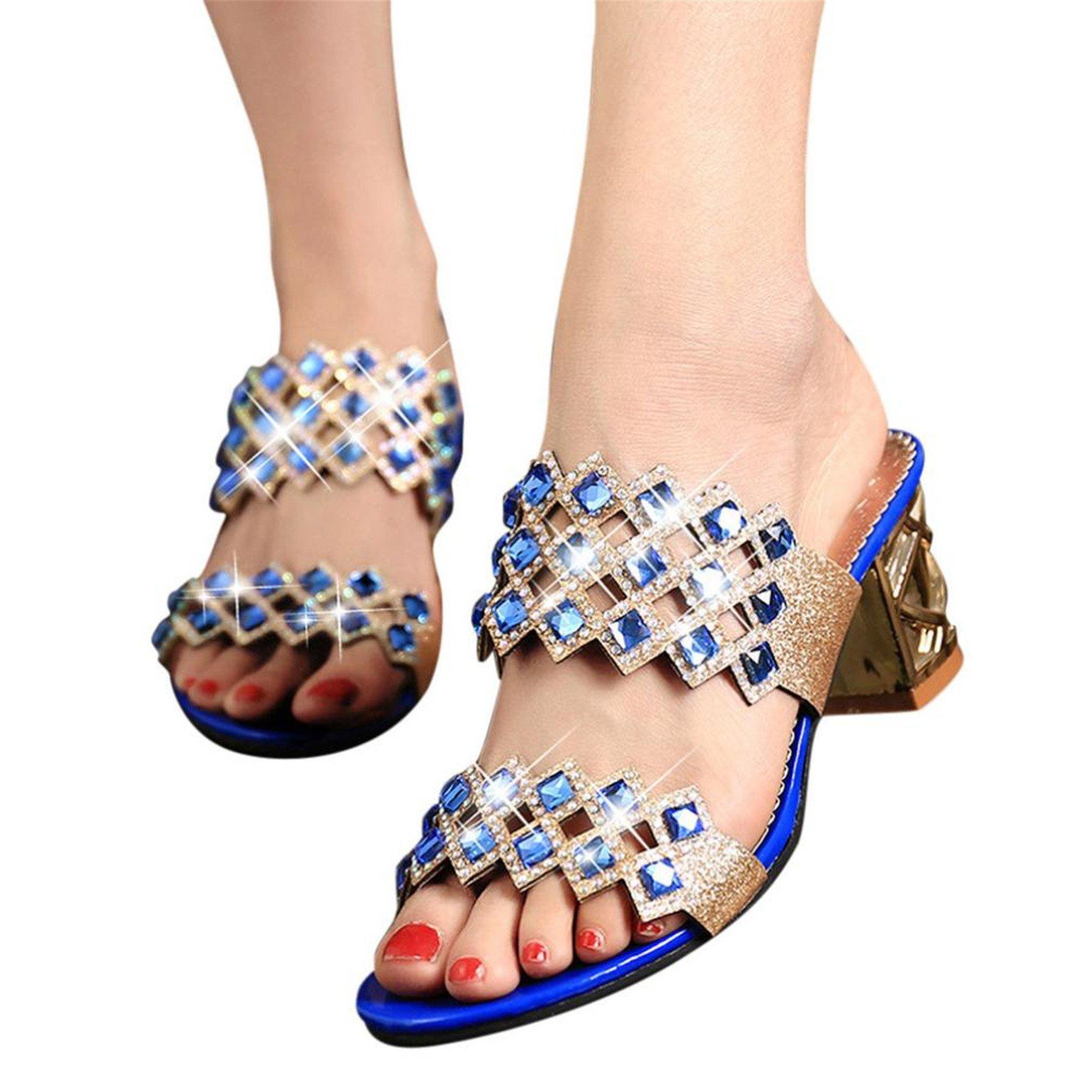 KESEELY Womens Square Heel Sandals, Fashion Women Big Rhinestone High Heel Sandals Ladies Beach Sandal (US:7, Blue)