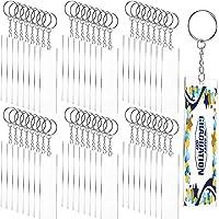 Song Key Chain Blanks Rectangle Acrylic Key Chain Blanks Transparent Keychain Discs with Key Rings for Custom Vinyl DIY…