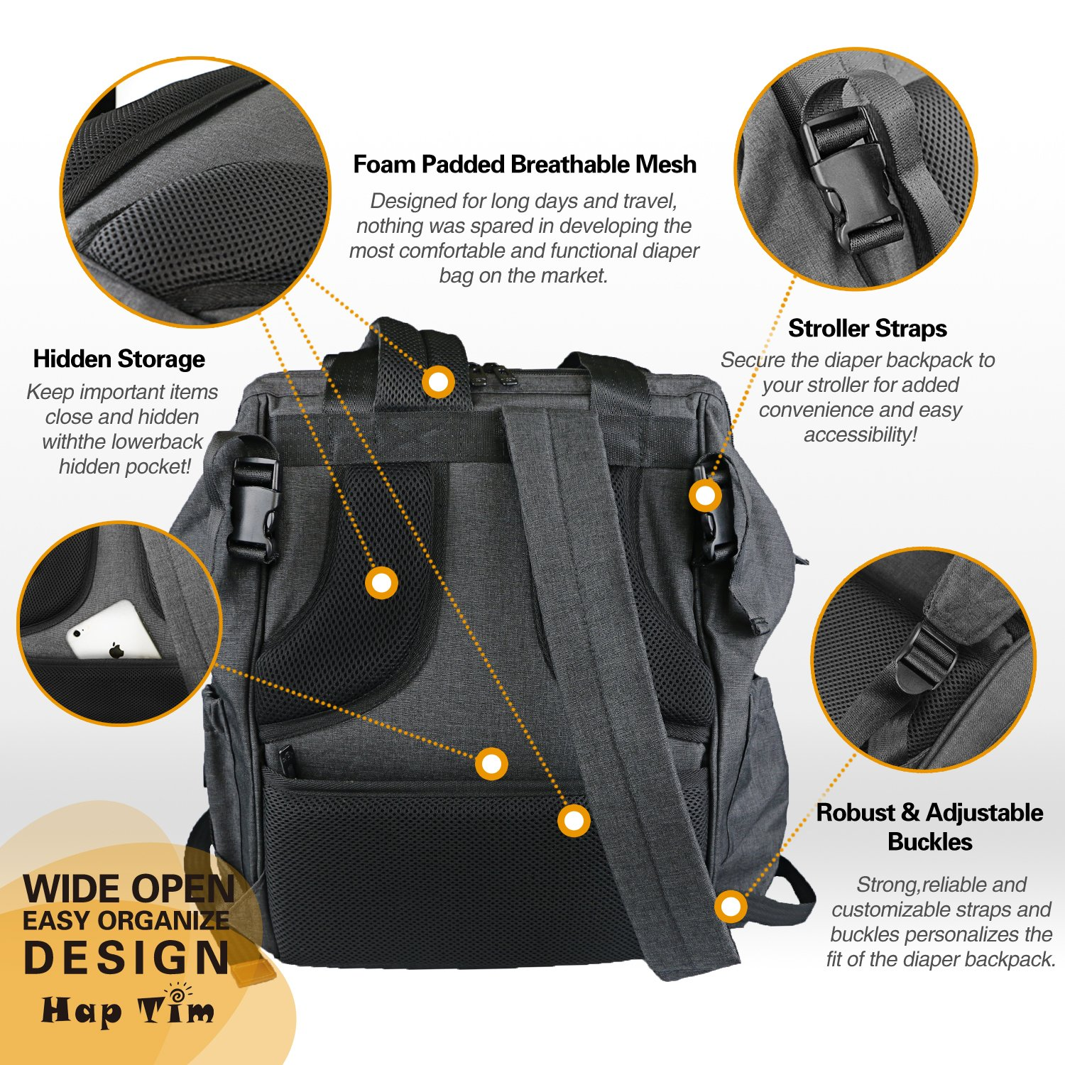 Baby Diaper Bag Backpack Stroller Strap Insulated Pocket Changing Pad (DG-5279)