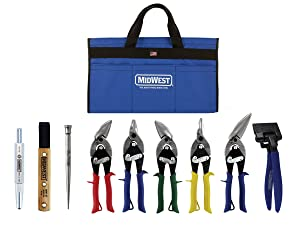 MIDWEST BUILDING Tool Kit - 9 Piece Set Includes Aviation Snips with Siding Tools & Bag - MWT-BULDKIT02