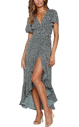 baffe335da58 ECOWISH Women s Dresses Bohemian Wrap V Neck Short Sleeve Ethnic Style High  Split Beach Maxi Dress
