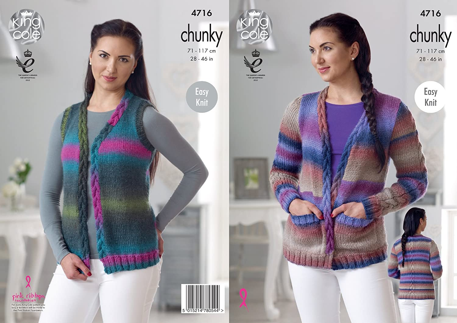 King Cole Ladies Riot Chunky Knitting Pattern Easy Knit Cardigan /& Sweater 4711